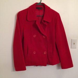Bright Red Pea Coat